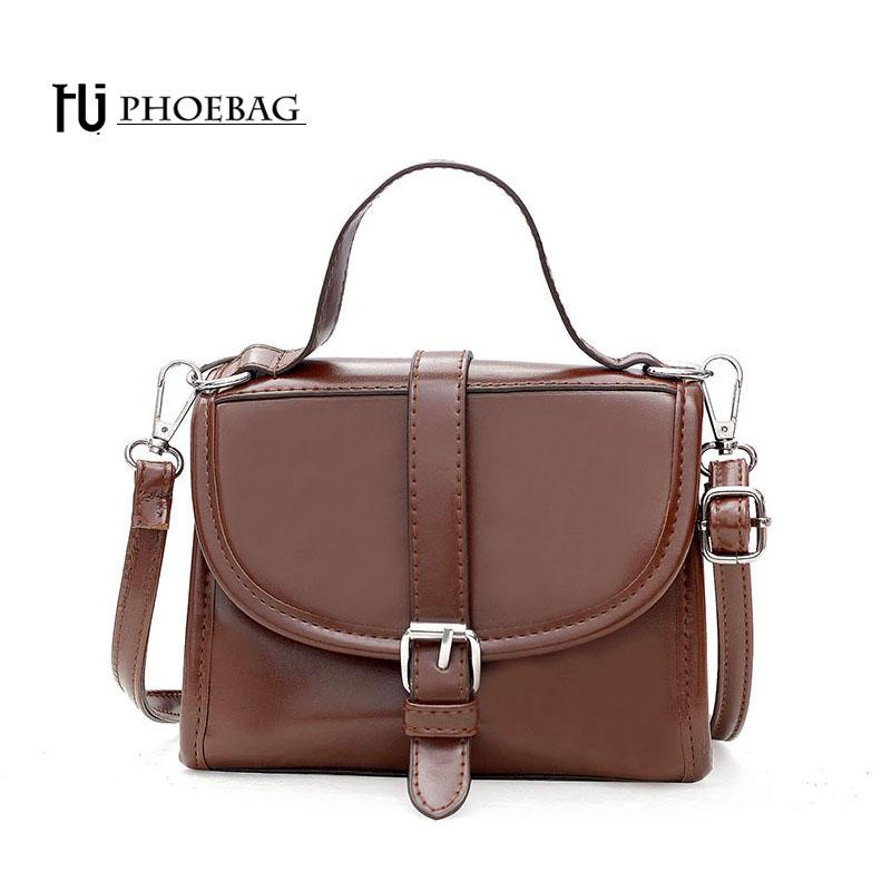 HJPHOEBAG Women Bags Fashion mini Handbags PU Leather Shoulder Bags Vintage Messenger Female Bag Black solid totes HJ-824