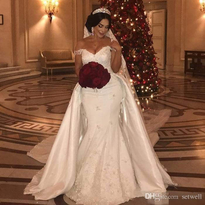 Detachable Trains For Wedding Gowns: 2018 Luxury Beaded Lace Ivory Wedding Dresses With