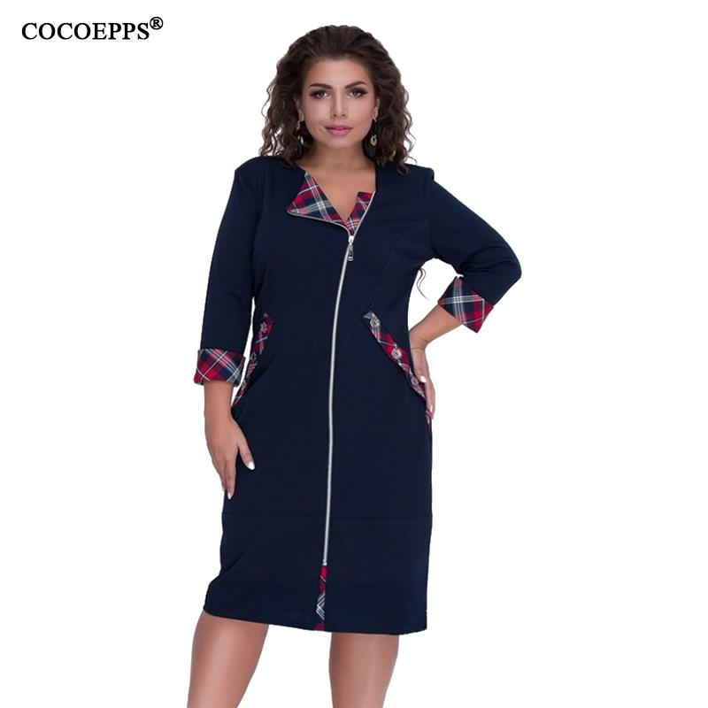 5XL 6XL 2018 Autumn Big Size Women Dress Casual Patchwork Female Winter  Plus Sizes Dress Zipper Lady Office Party Bodycon Dresses Cheap Dresses 5XL  6XL 2018 ... 2062dcaa1172