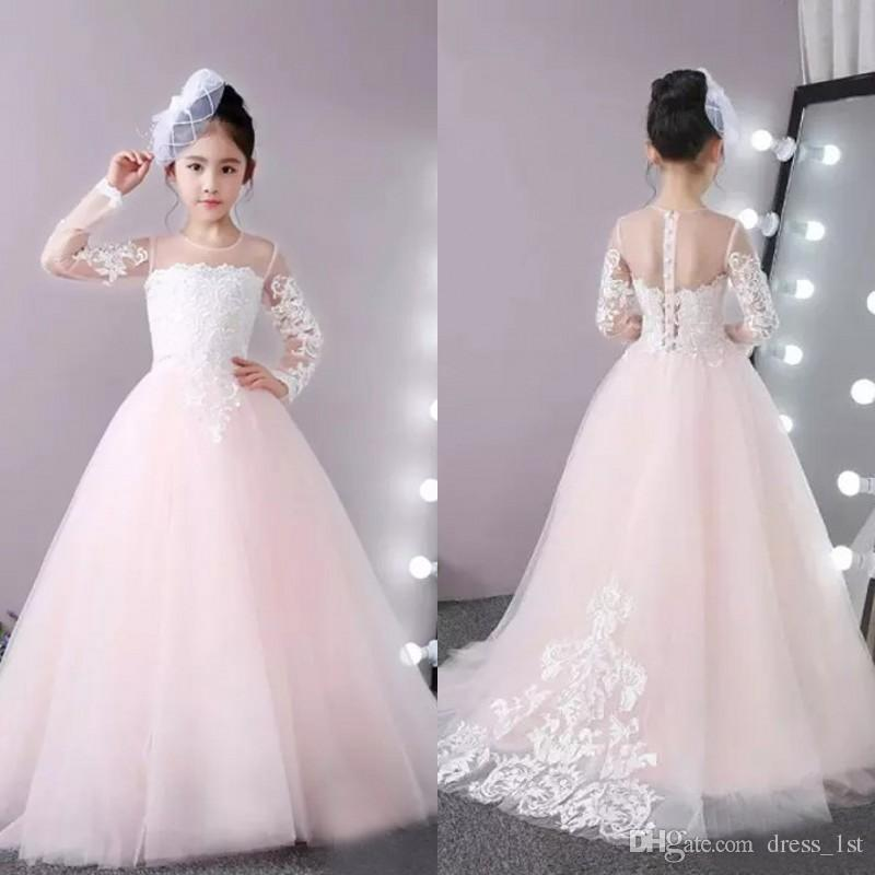 Latest 2018 White Lace Pale Pink Tulle Long Sleeve Flower Girls