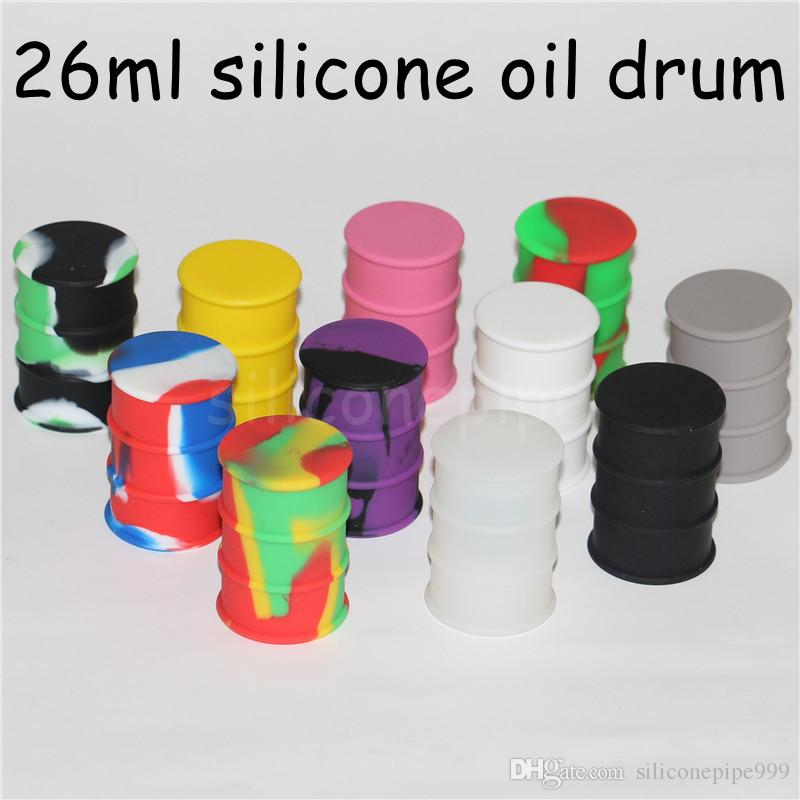 26ml drum shape silicone jar dab wax container hot silicone container concentrate jar multi colors silicone oil drum wax barrel jar DHL free