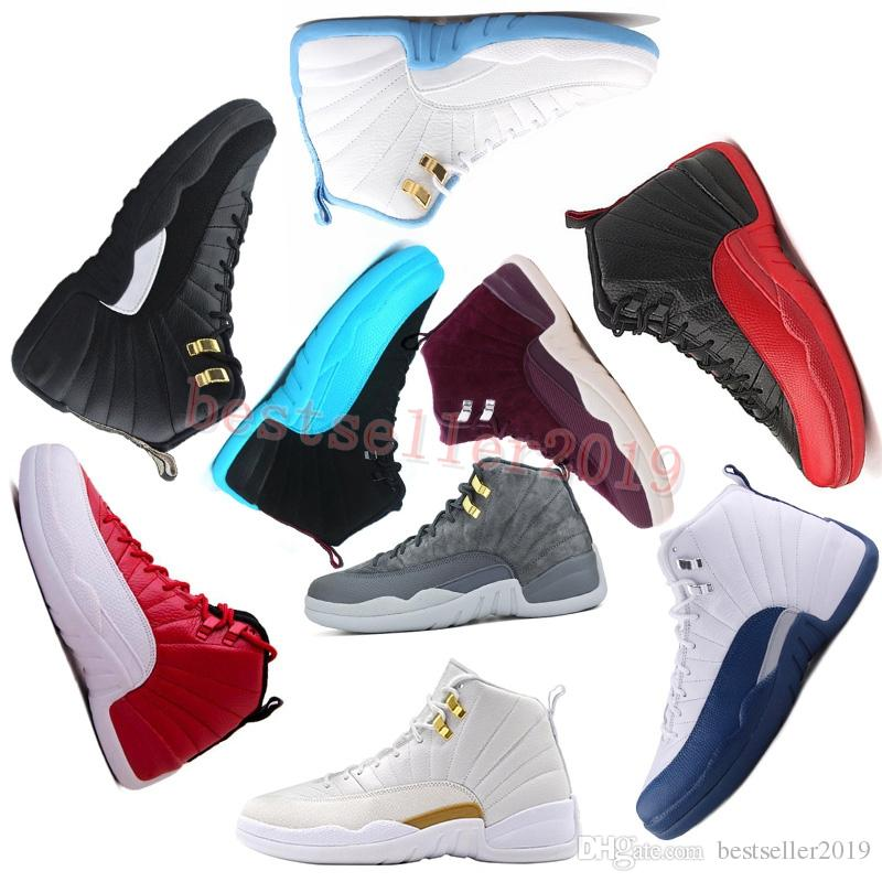 1d7031cede2bf3 2018 Mens Basketball Shoes 12 12s Bordeaux Dark Grey Wool White Flu Game Unc  Gym Red Taxi Gamma French Blue Suede Sports 41 47 Shoes Brands Basketball  Shoes ...