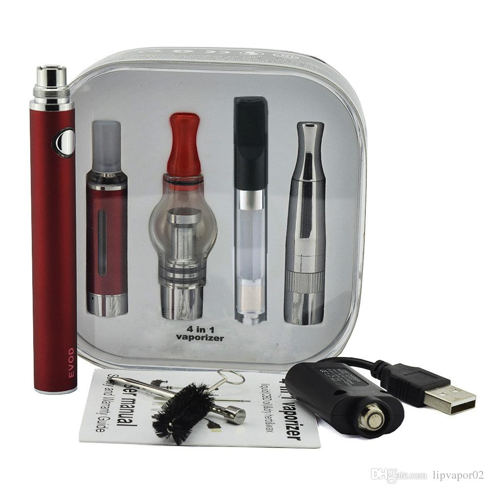 4 In 1 Vaporizer Kits Starter Kit Skillet Glass Ce3 Wax Dry Herb 4In1 Vapes For Electronic Cigarettes Evod Evod Twist Battery