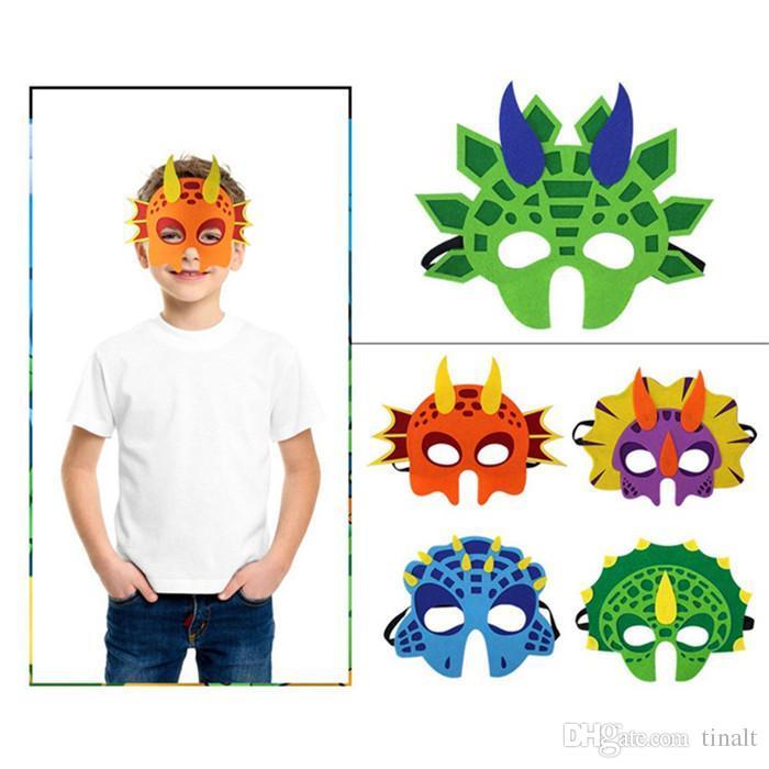 Weihnachtsfeier Cartoon.6 Arten Kind Dinosaurier Maske Kostüm Niedlichen Tier Cosplay Weihnachtsfeier Cartoon Maske Halloween Maske T3i0343