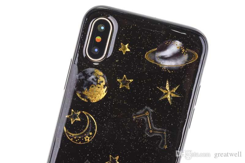 Epoxy Phone Case For iphone 11 Pro Max XS XR 8 7 6S Plus Planet Star Transparent TPU Back Cover Cases