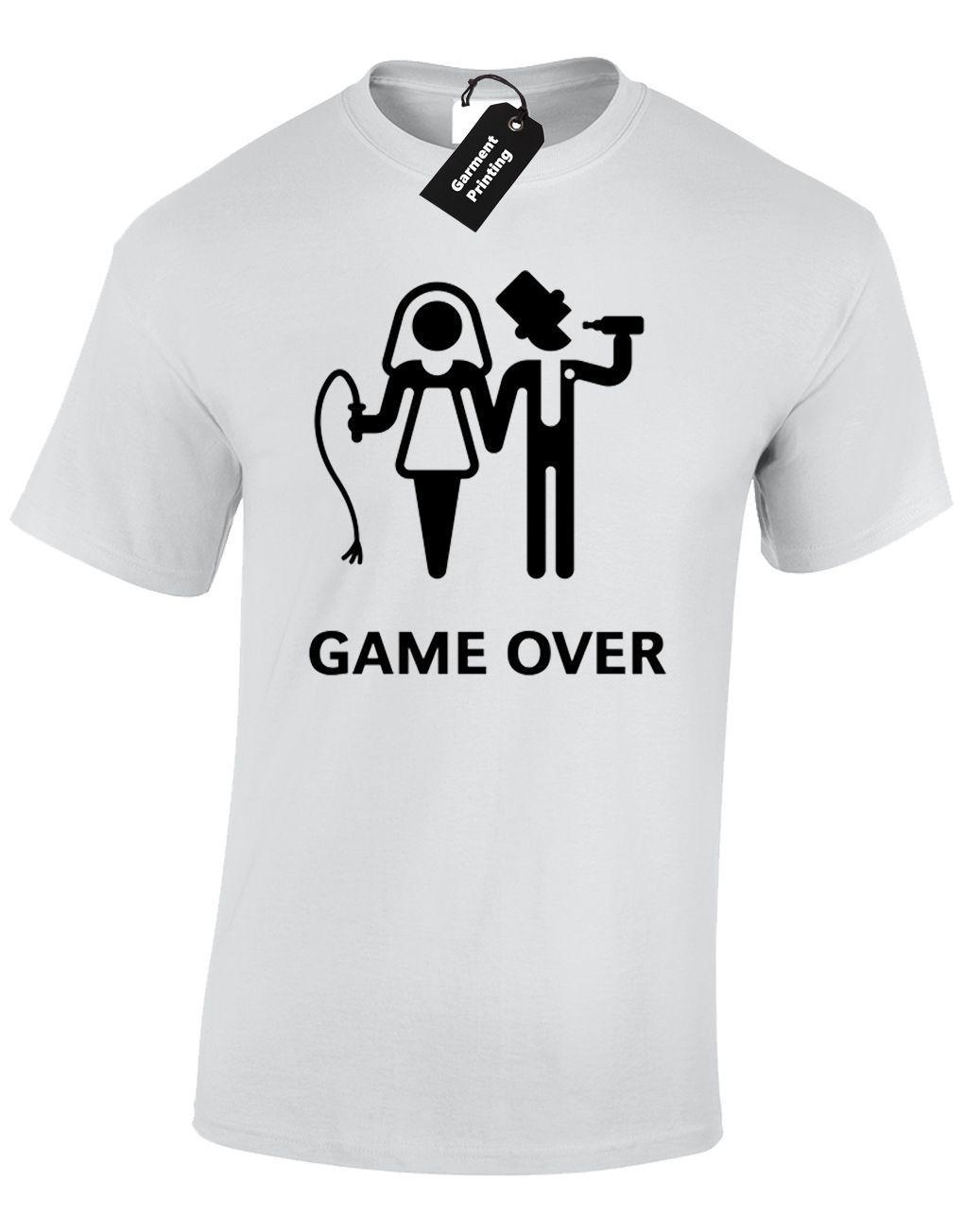 Game Over Mens T Shirt Funny Wedding Bride Groom Design Gift Present