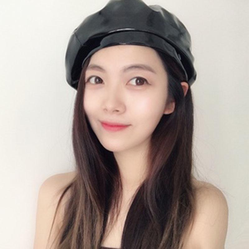 ce17662141162 2019 Fashion Pu Patent Leather Beret Hat For Women Photography Retro French  Beanie Spring Autumn From Ekkk