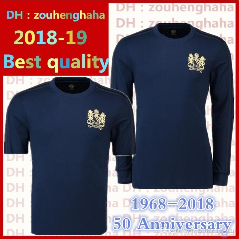 new products f33cd 7488f man utd Special jerseys 1968 years short sleeves 1968-2018 united 50  Anniversary of the edition Long sleeve blue football shirts