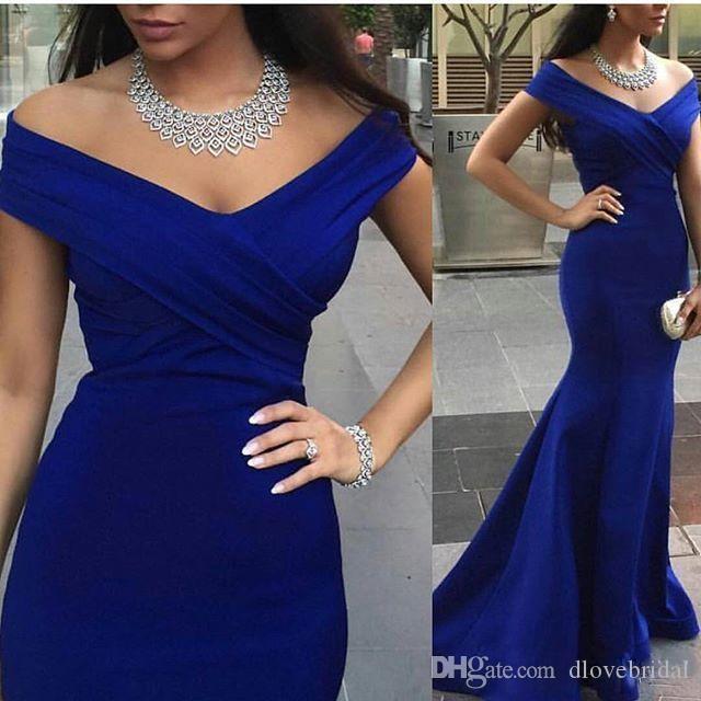 Precio bajo de alta calidad vestido de fiesta Nuevo estilo por encargo azul sirena larga fuera del hombro cintura natural barrido tren vestidos de fiesta por la noche