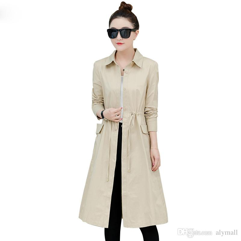 c1c4ad1ac2 Long Single Windbreaker Coat Female Thin Section Spring Autumn Women Coat  Korean Office Fashion Casual Trench Outwear Online with $67.07/Piece on  Alymall's ...