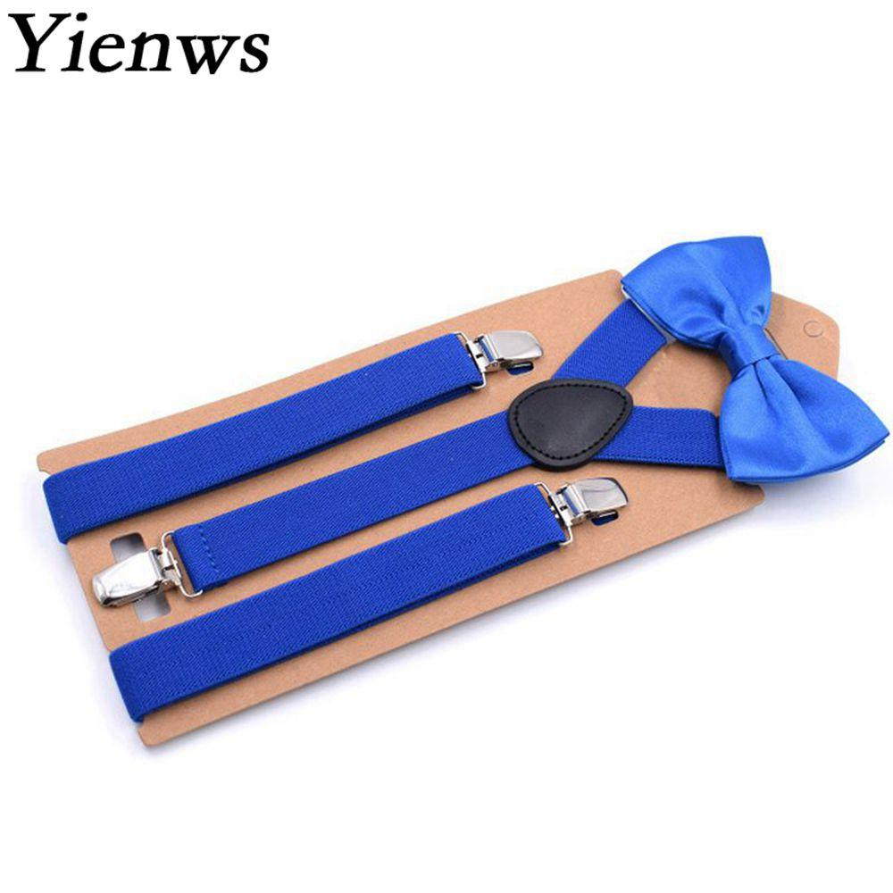 Royal Blue Bow Tie Suspenders For Men Leisure Wedding Party Brace