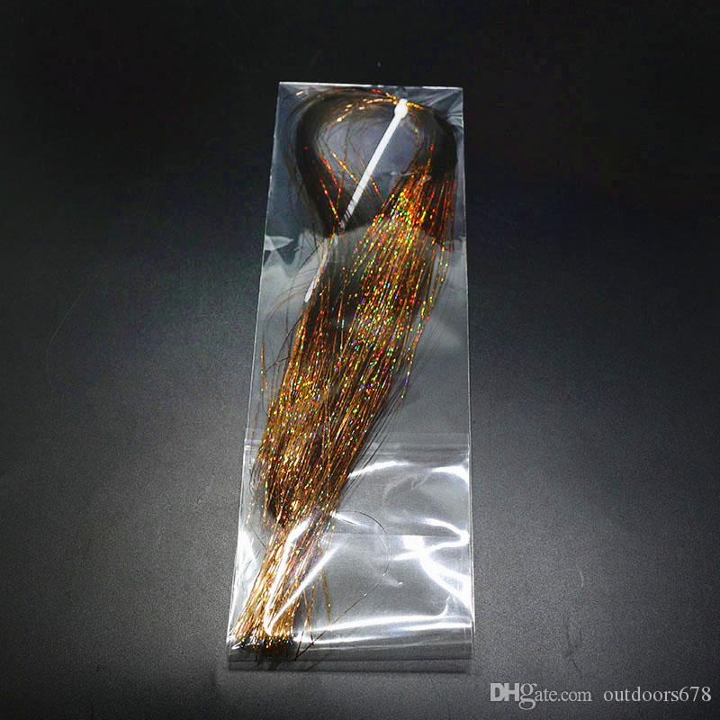 Fishing Lure Flashabou Tinsel Fiber Fly Tying materials colorful Flat Glittering Crystal Flash Tinsel Hair For Artificial Bait