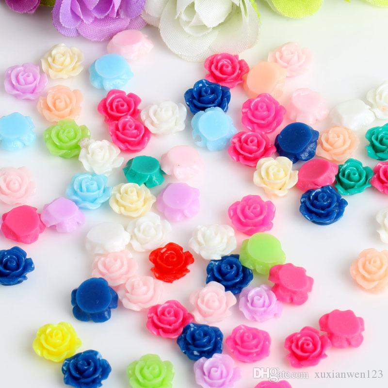 100Mixed colors 10mm plastic rose flower DIY beads flat resin cabochon with paillette craft