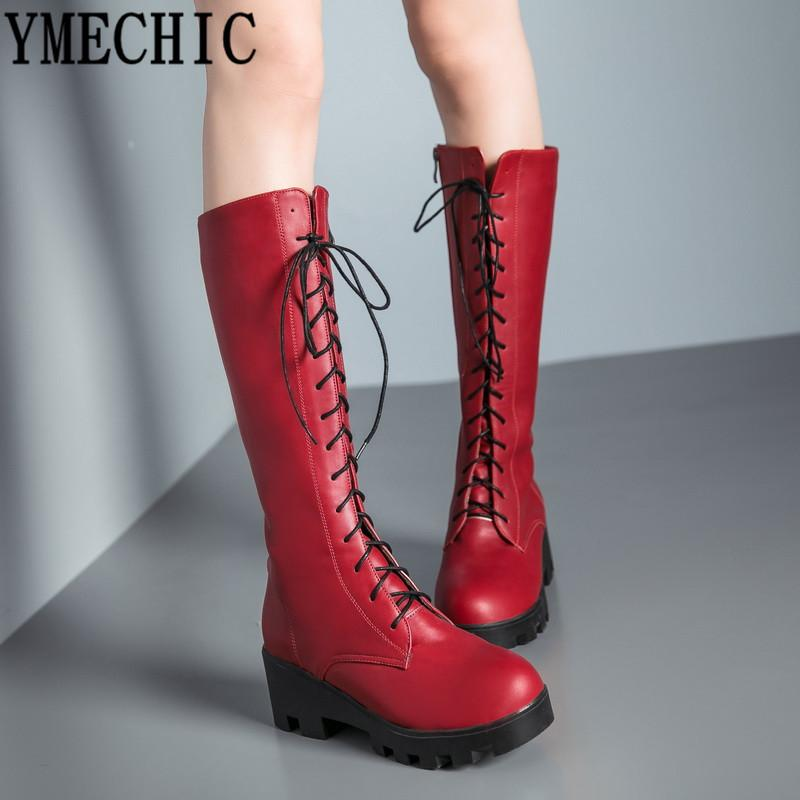 e7fc604d765 YMECHIC 2018 Red Plus Size Lace Up Mid Calf High Motorcycle Boots Women  Fashion Cross Tied White Black Chunky Heel Woman Shoes Skechers Boots Mid  Calf Boots ...