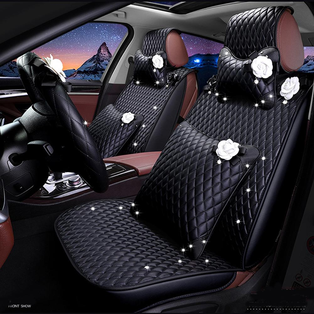 Quality Girly Leather Auto Seat Cover Charming Flower Design