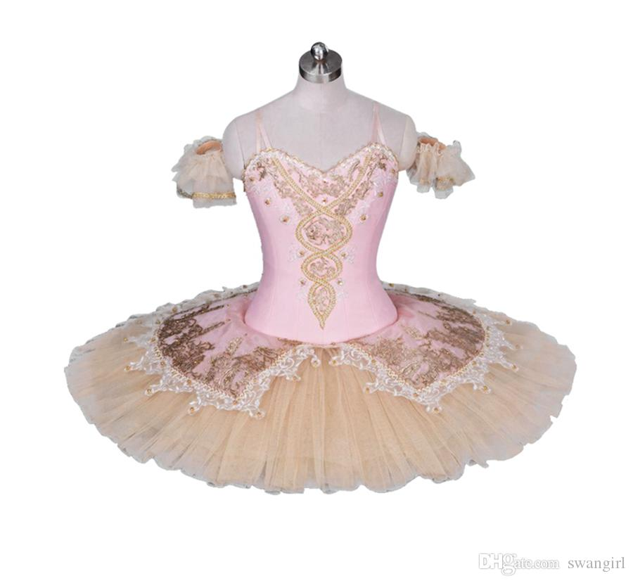 0d8b49ac93 2019 Women Florina Professional Ballet Tutus Skirt Pink Beige Le Corsaire  Performance Ballet Stage Costume Ballerina Pancake Tutu BT9034 From  Swangirl