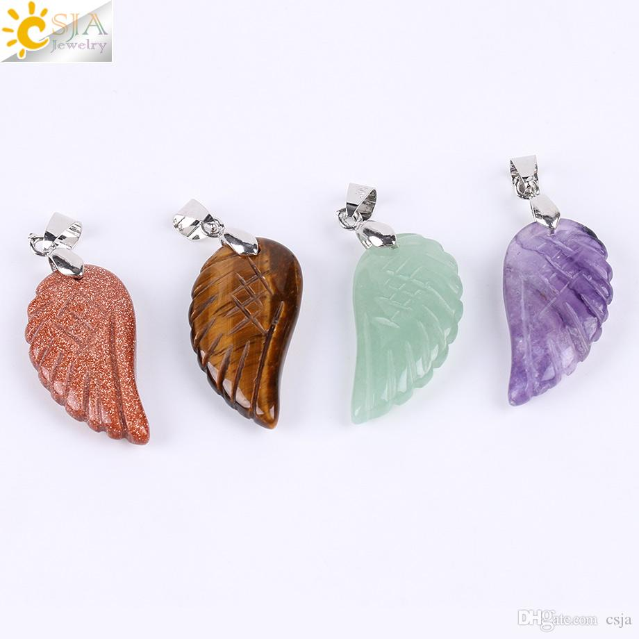 CSJA Angel Wing Pendant Carved Feather Natural Stone Amethyst Lapis Lazuli Butterfly Crystal Gemstone Men Women Love Jewelry Handmade E768 A