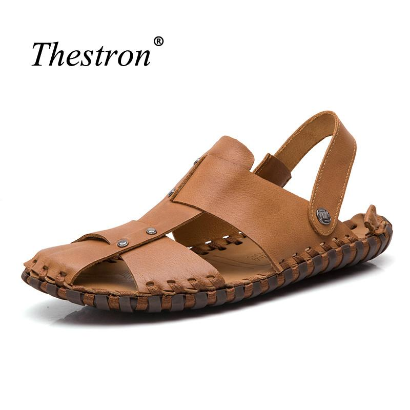 d1d4385febc5 2018 Leather Sandals Men Summer Brown Mens Shoes Genuine Leather Slip On  Shoes Beach Comfortable Walking Sandals Wedge Boots Comfortable Shoes From  Lbdshoes ...