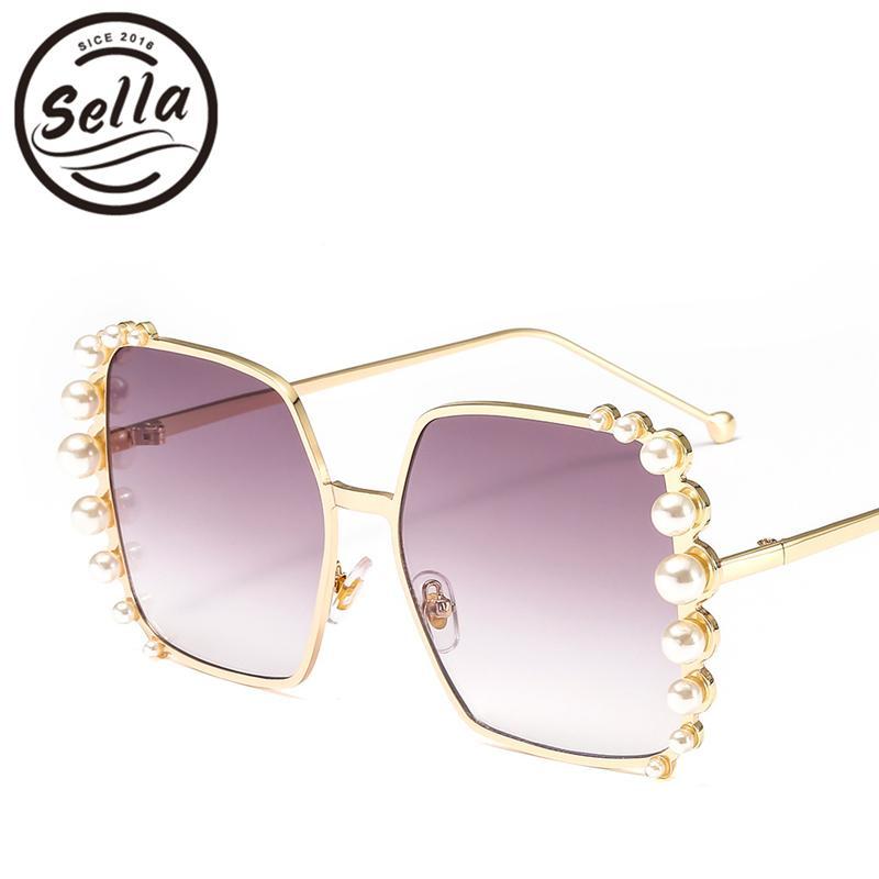 b181fc2479c Sella Fashion Women Brand Designer Pearl Decoration Oversized Square ...