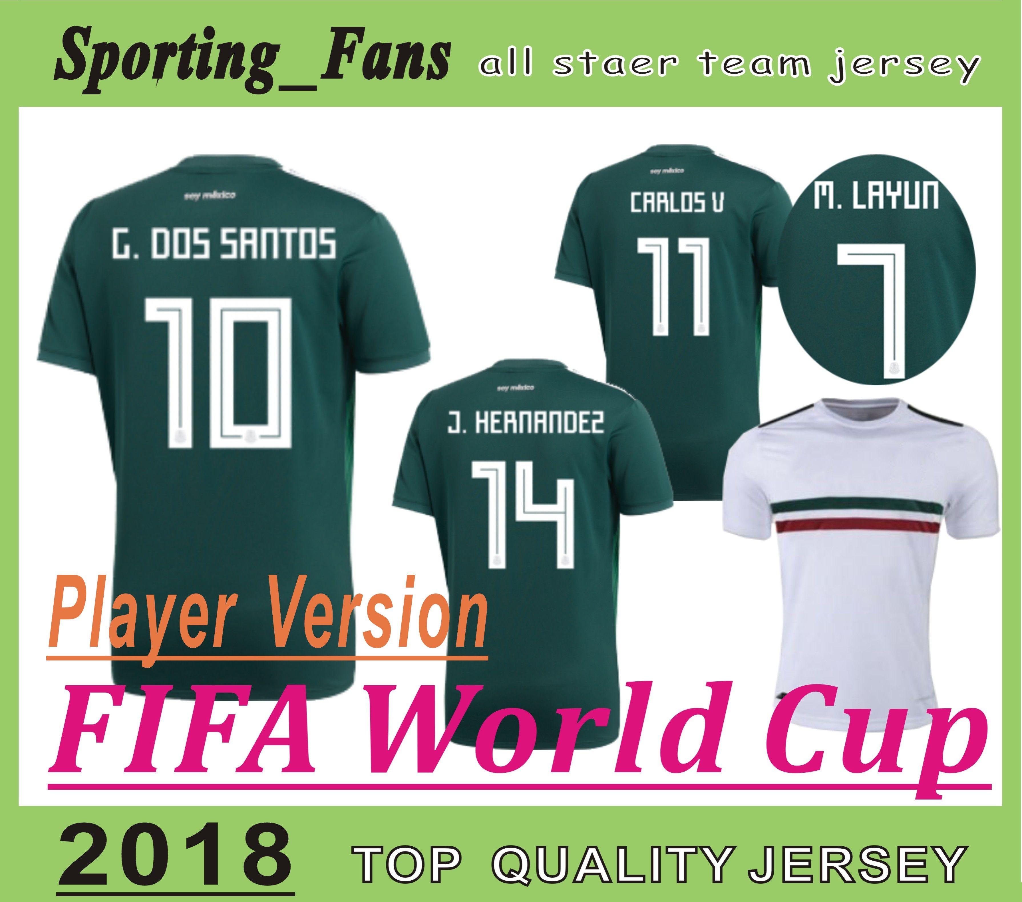 dae9ac756cd 2019 Player Version 2018 World Cup Jerseys Mexico SOCCER JERSEYS MARQUEZ  Chicharito Miguel Layun Hector Herrera Giovani Dos Santos Carlos Vela From  ...