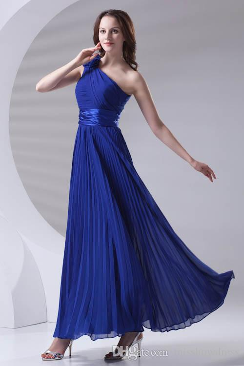 Royal Blue Chiffon Long Bridesmaid Dresses One Shoulder Pleated Formal Wedding Guest Maid Of Honor Floor Length Prom Dresses ZPT422