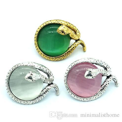 Beauty Colorful Cat eye stone snake 18MM snap buttons fit snap bracelet jewelry wholesale
