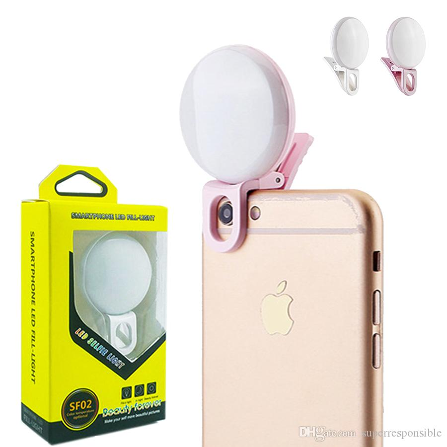 Universal LED Selfie Light Ring Light Laptop Cámara Fotografía Video Clip de iluminación en luz recargable para iphone xs samsung
