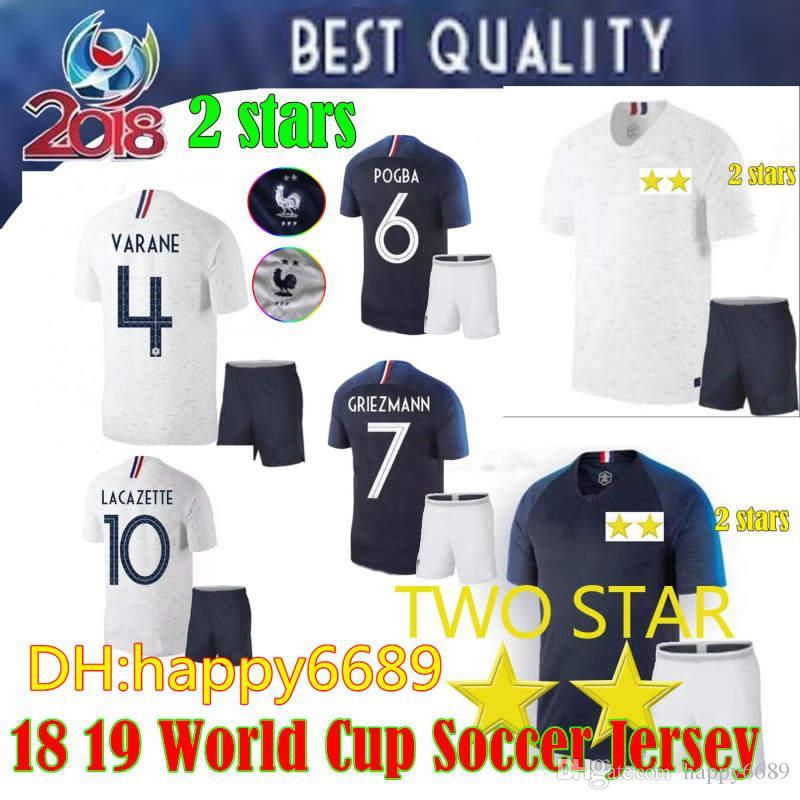 6d368f02a46 2 Stars 2018 GRIEZMANN FRENCH World Cup Soccer Jerseys Men Kit 18 19 ...