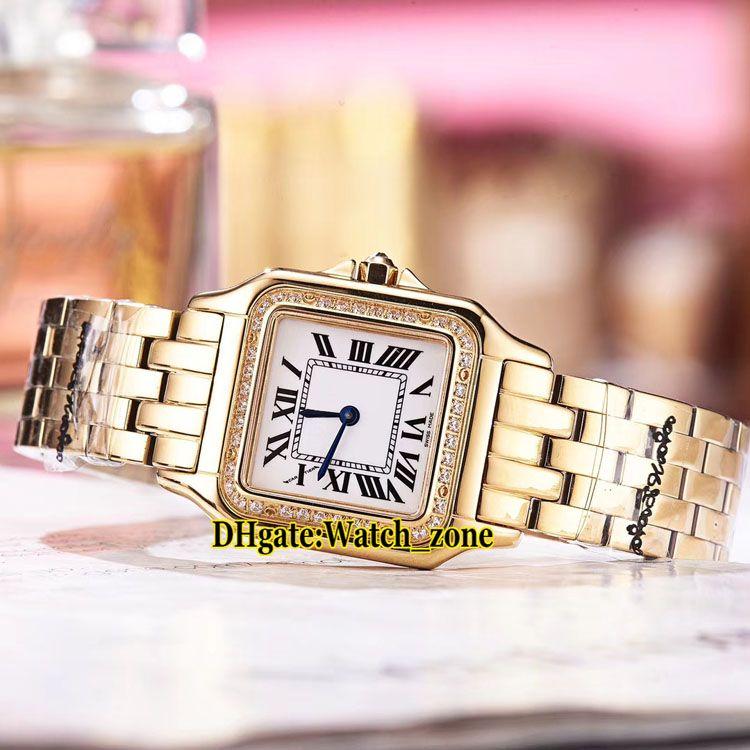 Brand New 27mm Panthere De WJPN0016 White Dial Swiss Quartz Womens Watch Diamond Bezel 18K Yellow Gold Steel Band Fashion Lady New Watches
