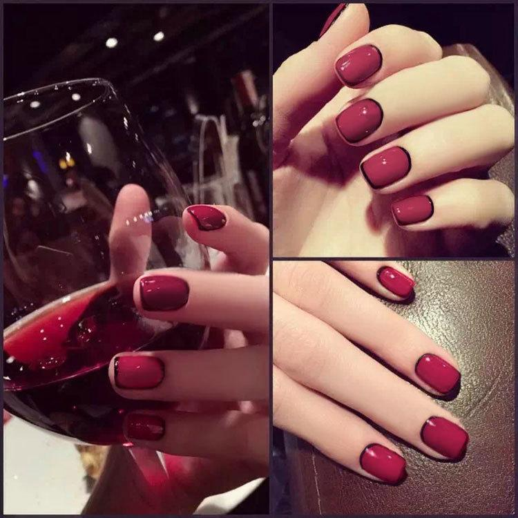 Amazing Red Nails Black Tips Ensign - Nail Paint Design Ideas ...