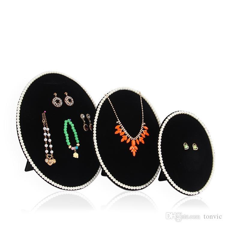 Tonvic Оптовая серый / черный / розовый бархат цепи ожерелье серьги браслета стойки дисплея ювелирных изделий держатель Board
