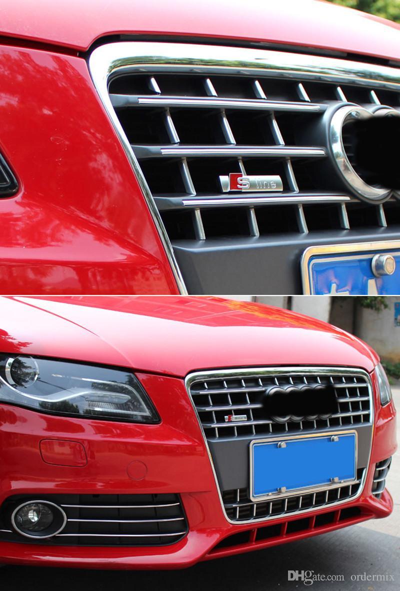 S Línea Sline rejilla frontal insignia del emblema de la etiqueta engomada de plástico ABS cromado -Front rejilla de montaje para Audi S3 S4 S5 S6 S8 A1 A3 A4 A5 A6 A7