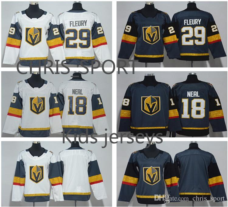 size 40 b8879 ed834 New arrival Vegas Golden Knights kids hockey jerseys #18 James Neal 29  Marc-Andre Fleury youth custom player wear