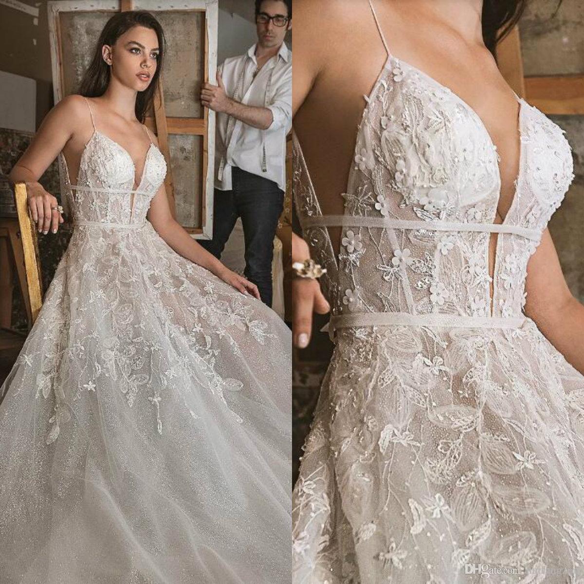 Discount 2019 Sexy Designer Wedding Dresses Spaghetti Straps Illusion Lace  Applique Bridal Gowns Exposed Boning Beach Wedding Dress Vestidos De Novia  ... 38dff0762945