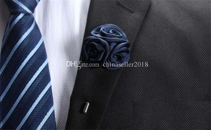 15 uomini classici di colore spilla fiore spilla moda imitato tessuto in seta fiore all'occhiello del bastone spilla abito da sposa partito gioielli