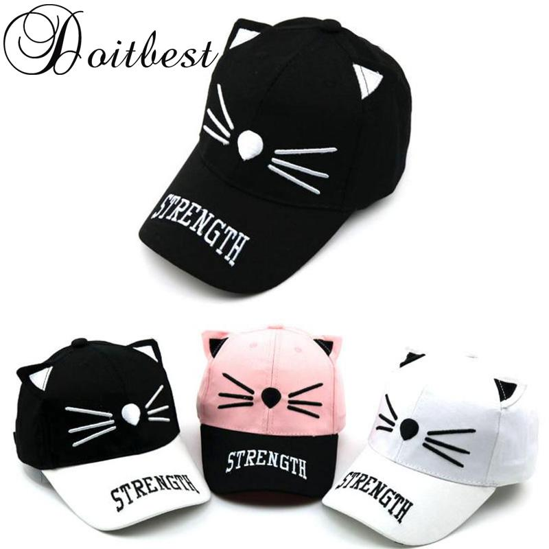 e3dce911f 2018 Spring Children HipHop Baseball Cap Cute Cartoon Cat Child Summer Kids  Sun Hat Boys Girls Snapback Caps 2 8 Years Old Baby Cap Embroidered Hats  From ...