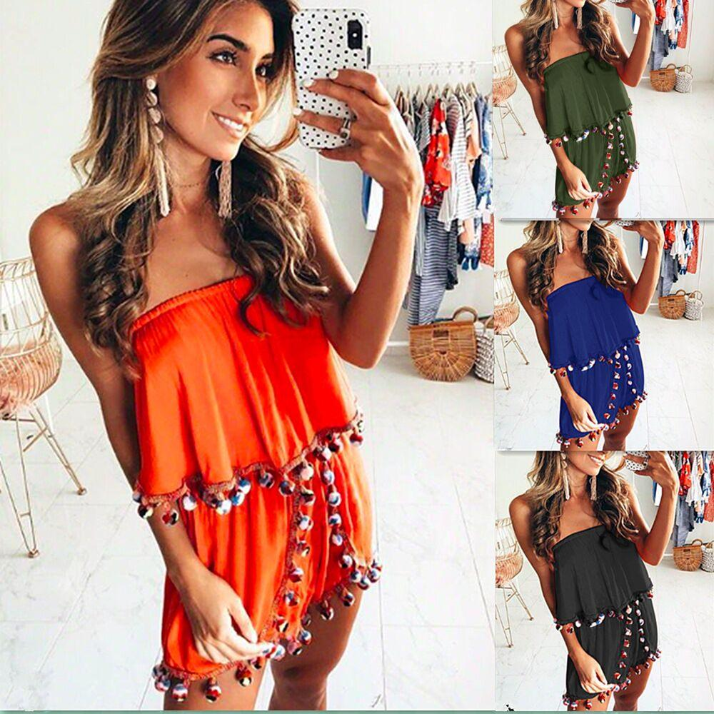 7580c82f93b 2019 Women Plus Size Off Shoulder Tassel Print Beach Jumpsuit Romper  Sleeveless Short Overalls Sexy Backless Summer Playsuit From Freea