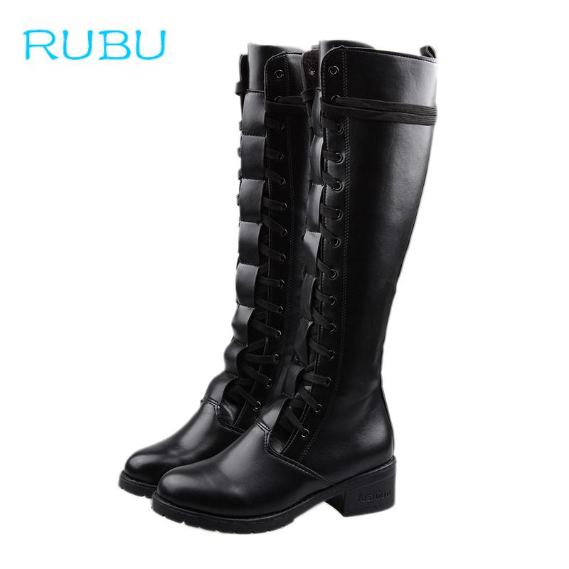 50fa2de3ffb6 2018 New Lace Up Knee High Boots Women Autumn Soft Leather Fashion ...