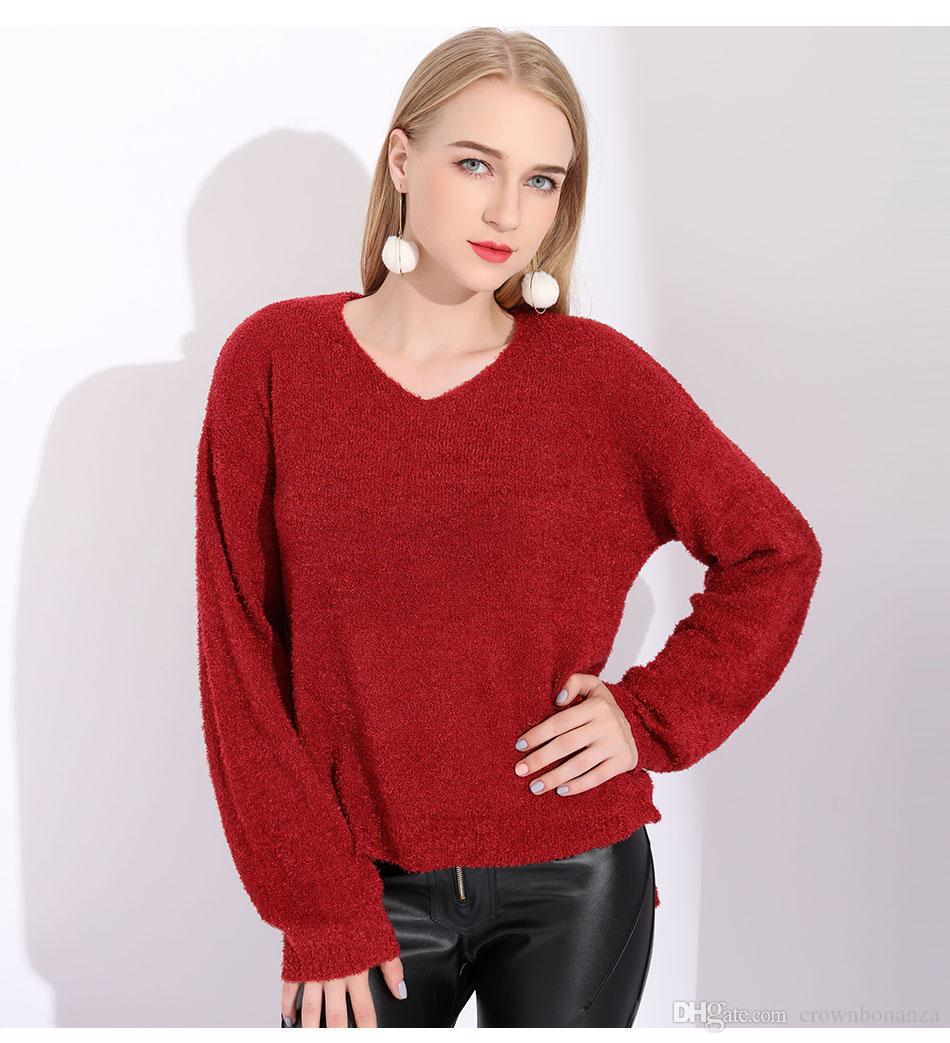 2019 Rabbit Hair Sweater Christmas Jumper Ladies Mohair Sweater Women V  Neck Light Wine Red Sweater Female Oversize Pull Long Femme From  Crownbonanza c71807a48