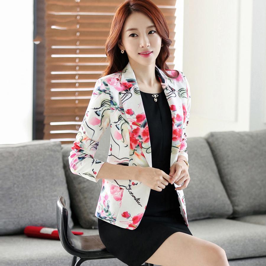 Compre Casual Estampado De Flores Blazer Mujeres Más El Tamaño Impreso  Coreano Un Botón Blazer Mujer EleSlim Corto Traje Chaqueta KC5C082 A  51.89  Del ... 9e53d0de4c90