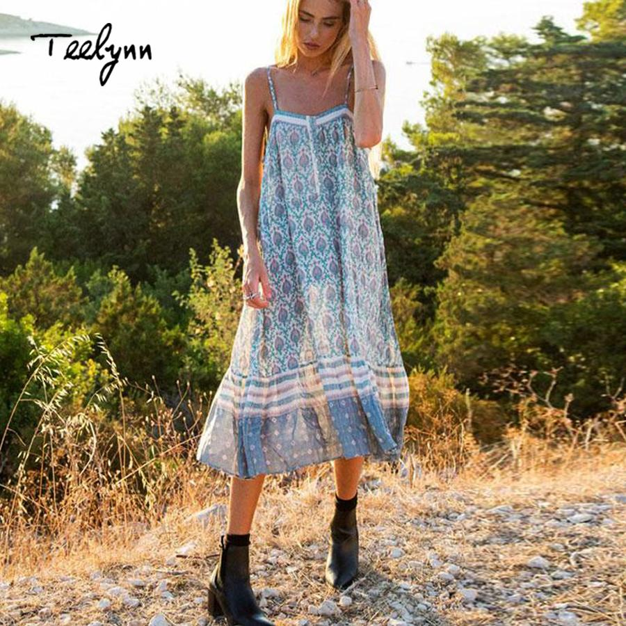 2ec6597f8694 2019 Teelynn Boho Dress 2018 New Green Floral Print Summer Dresses Sexy  Sleeveless Strap Loose Casual Hippie Women Dresses Vestidos Y1890809 From  Zhengrui05 ...