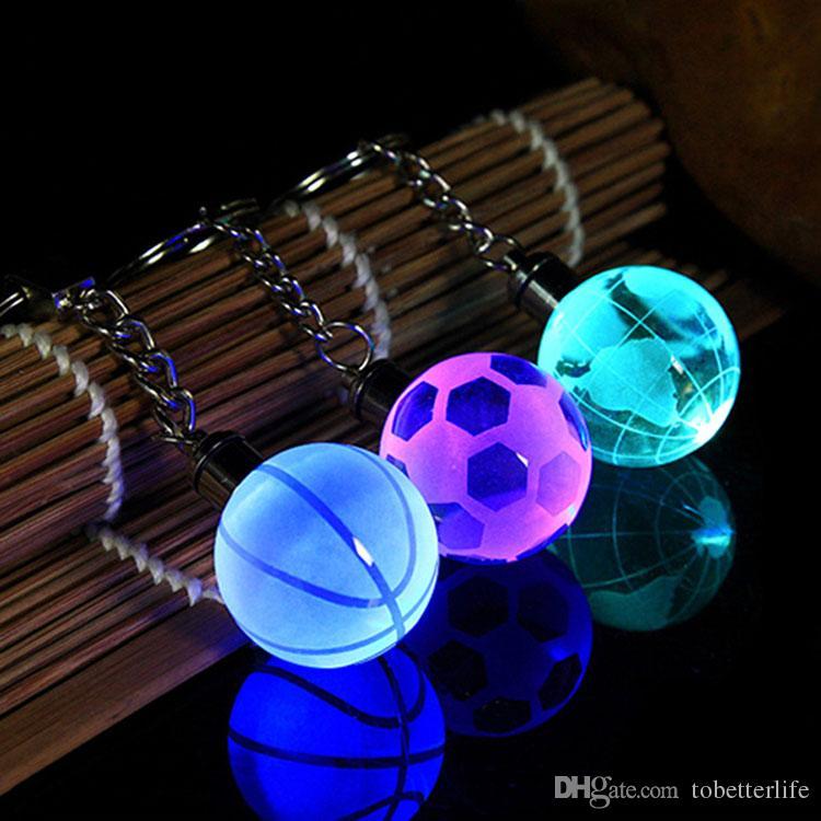 LED Night Light Crystal Buckle Football Basketball Earth Key Chain for World Cup Birthday Souvenir Graduation Gift
