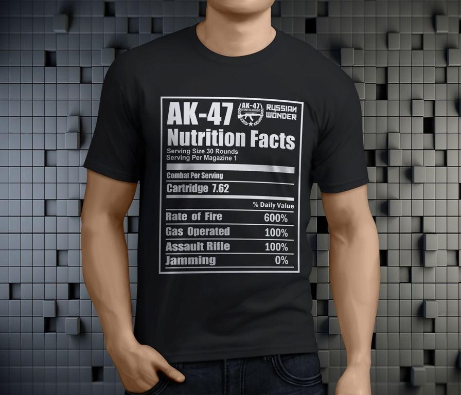 ce91b402 AK47 Russian Riffle Funny Nutrition Facts Men'S Black T Shirt Size S 3XL  Online Shopping Tee Shirts Crazy T Shirts For Men From Amesion71, $12.08|  DHgate.
