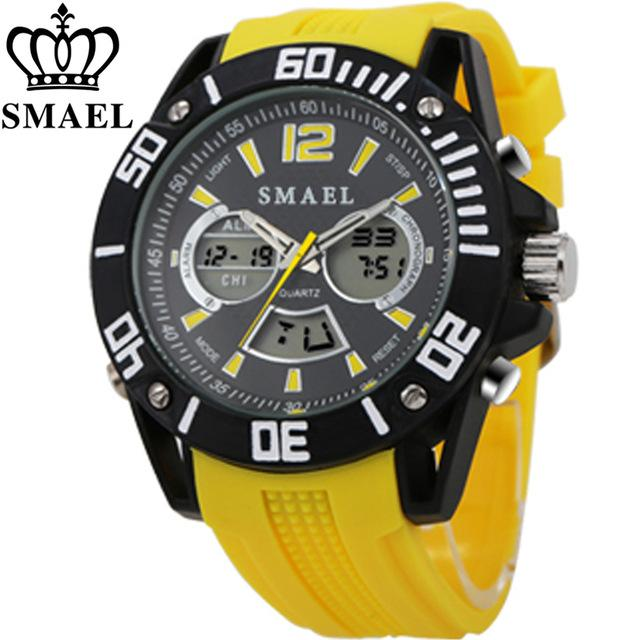 Swim 50m Waterproof Watch Outdoor Sports Men Watches Quartz Electronic Dual Display Military Style Multifunction Male Luminous A Attractive Fashion Children's Watches