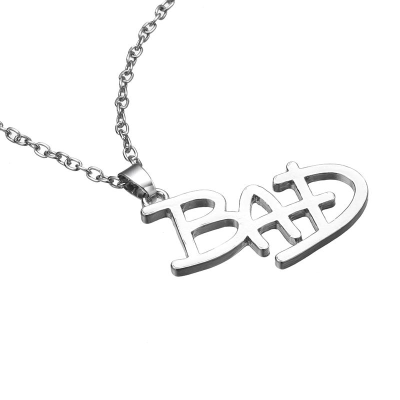New Jewelry Michael Jackson English letter Bad Necklace MJ BAD LOGO Pendant For Men And Women Fans Drop Shipping