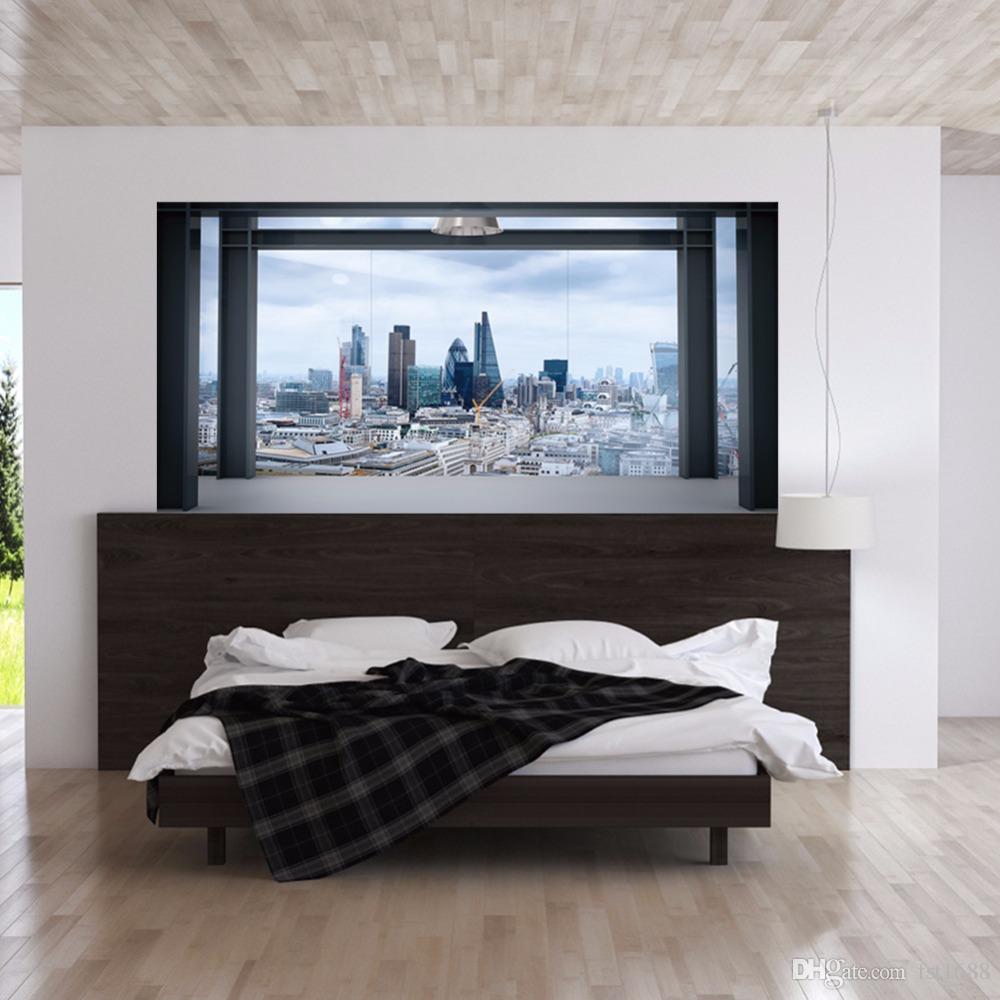 Creativa extraíble 3D City View Building Sofá Wallpaper Wallside Wall Stickers DIY Arte Decoración del hogar Murales Vinyl Decals