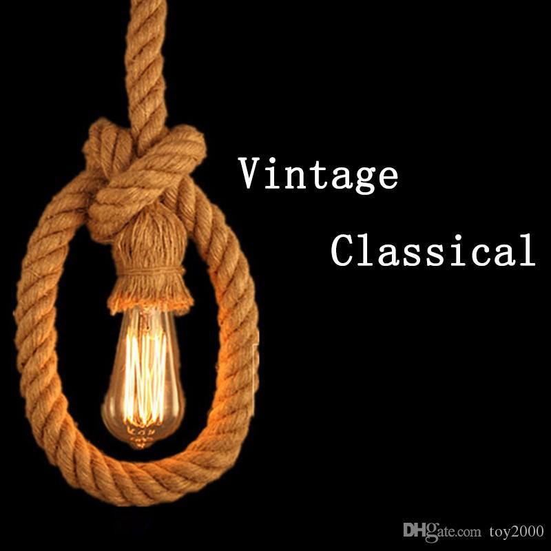 Retro vintage cuerda colgante luz lámpara loft personalidad creativa lámpara industrial bombilla de edison estilo americano para sala de estar