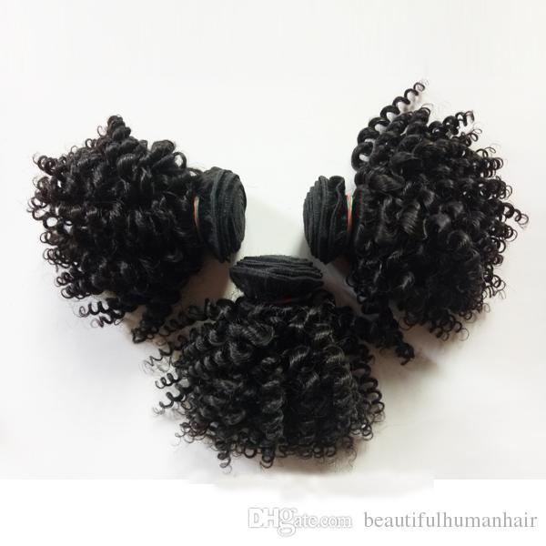 Cheveux humains vierges brésiliens malaisiens tisse style court 8-12 pouces Kinky bouclés cheveux trame beauté European Indian remy extensions de cheveux