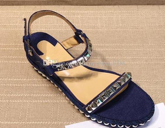 Nuevo estilo de verano de lujo para mujer Lienzo estilo gladiador pisos zapatos negro blanco azul espárragos sandalia de las mujeres del partido Sexy Fashion Ladies Shoes 00