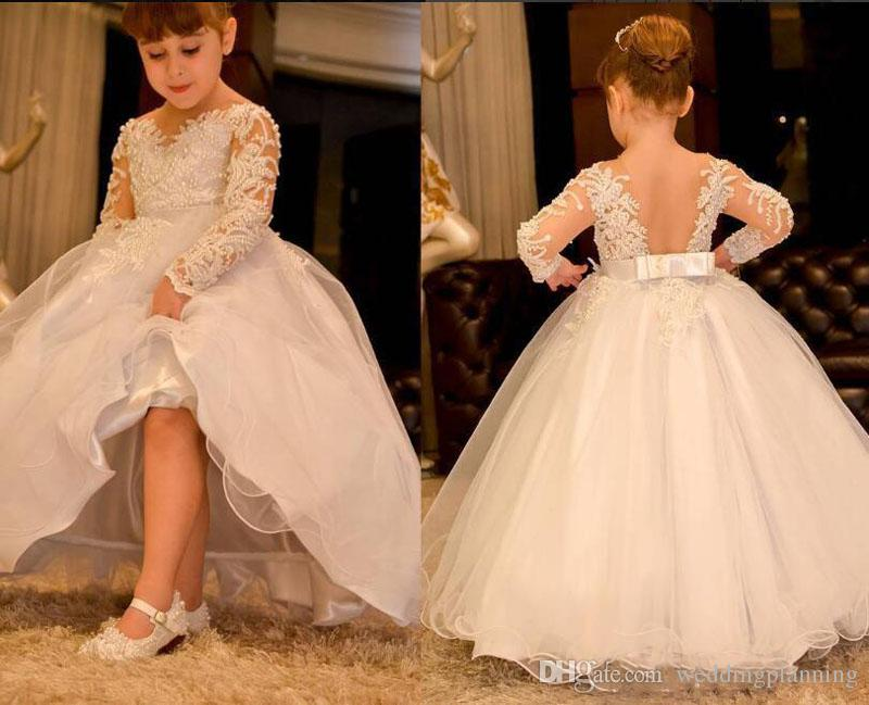 Ball Gown Long Sleeves Flower Girl Dresses 2018 Lace Pearls Backless Kids Wedding Dress Vintage Little Girl Pageant Gowns Sheer Neck